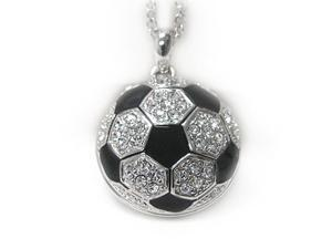 Large White Gold Plated Crystal Soccer Ball Pendant Necklace