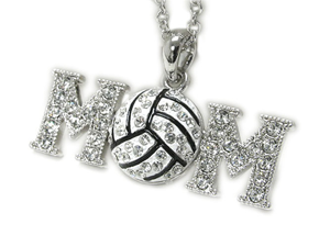 White Gold Crystal Volleyball Mom Pendant Necklace Fashion Jewelry