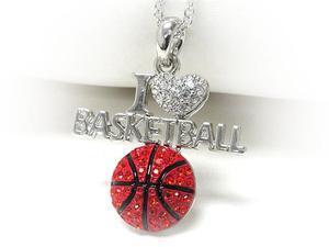 White Gold Red Crystal I Love Basketball Pendant Necklace Fashion Jewelry