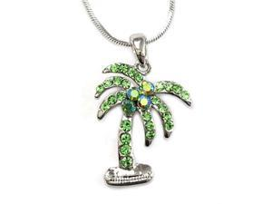 Silvertone Green Rhinestone Palm Tree Pendant Necklace Fashion Jewelry
