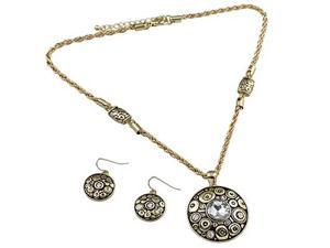 Goldtone and Rhinestone Pendant Necklace and Earrings Set Fashion Jewelry