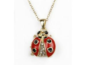 Goldtone Crystal Ladybug Pendant Necklace Fashion Jewelry