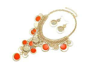 Goldtone Round Orange Disc Statement Necklace and Earrings Set