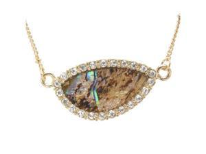 Goldtone Crystal with Abalone Shell Pendant Necklace Fashion Jewelry