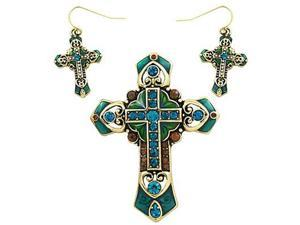 Goldtone Blue Green and Brown Cross Pendant and Earrings Set