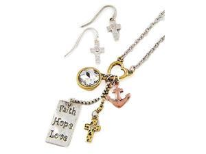 Tri Tone Faith Hope Love Charm Necklace and Earrings Set Fashion Jewelry