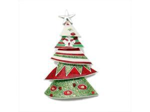 Whimsical Green Red Holiday Tree CLIP-ON Pendant Fashion Jewelry