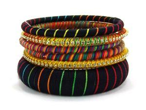 6 pc Thread Wrapped  Dark Multi Color Bangle Bracelet Set