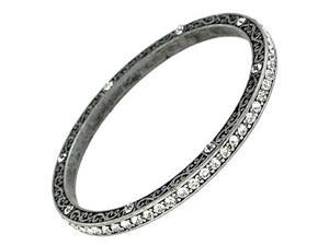 Thin Burnished Silvertone Clear Crystal Bangle Bracelet Fashion Jewelry