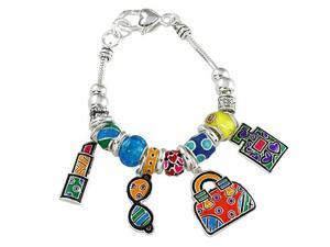 Bright Colored Lpstick Glasses Handbag Fashion Theme Charm Bracelet