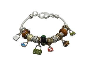 Purse Charms and Multi Beads Designer Style Fashion Bracelet