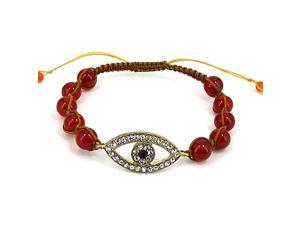Dark Red Beaded Brown Cord Evil Eye Charm Friendship Bracelet