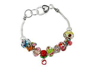 Silvertone Multi Colored Flower Beads Charm Bracelet Fashion Jewelry