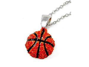 Orange Crystal Basketball Pendant Necklace Fashion Jewelry