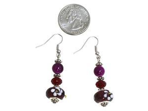 Dark Purple Glass Beads Dangle Earrings Fashion Jewelry