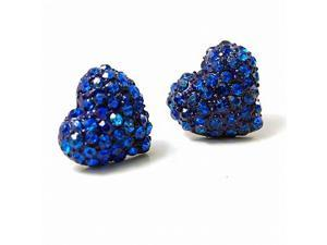 "Deep Blue Crystal Heart Stud 0.5"" Earrings Fashion Jewelry"