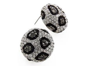 Silvertone Hematite Clear and Black Crystal Button Earrings Fashion Jewelry