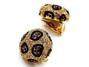 Goldtone Topaz Colored and Black Crystal Clip On Fashion Earrings