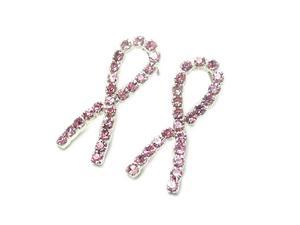 Silvertone Crystal Pink Ribbon Post Earrings