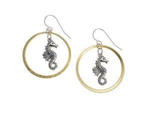 Metal Casting Sea Horse in Golden Circle Dangle Earrings -- Made In The USA