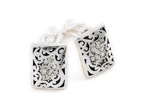 Silvertone Square Designer Style Button CLIP-ON Earrings Fashion Jewelry