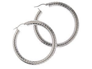 "Thick Round Silvertone 2"" Hoop Earrings Fashion Jewelry"