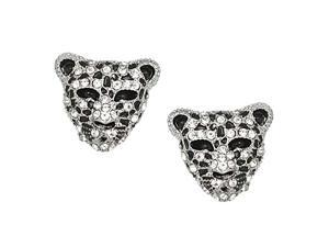 Silvertone Leopard Rhinestone Post Earrings Fashion Jewelry