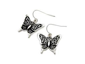 Antique Silvertone Filigree Butterfly Dangle Earrings Fashion Jewelry