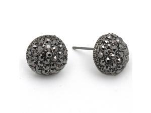 Hematite and Gray Crystal Pave Ball Stud Fashion Earrings