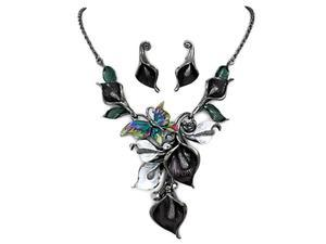 Black Metalic Rhinestone Flower Necklace and Earrings Set Fashion Jewelry
