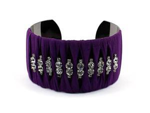 Purple Fabric and Crystal Wide Cuff Bangle Bracelet