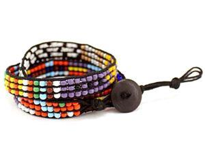 Black Multi Color Seed Bead Wrapping Fashion Bracelet