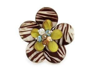 Yellow and Zebra Print Shell Flower Stretch Ring