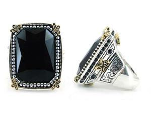 Two Tone Detailed Black Large Stretch Fashion Ring