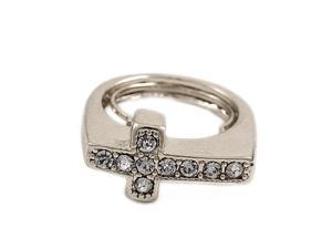 Silvertone Clear Rhinestone Cross Face Adjustable Fashion Ring