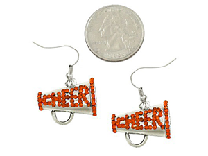 Silvertone Orange Crystal Cheerleading Dangle Earrings
