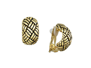 Goldtone Weave Design Cuff Clip-On Earrings