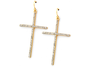 Goldtone Clear Rhinestone Cross Dangle Earrings