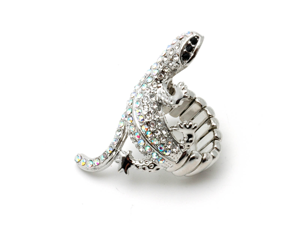 Silvertone Clear Crystal Snake Stretch Fashion Ring