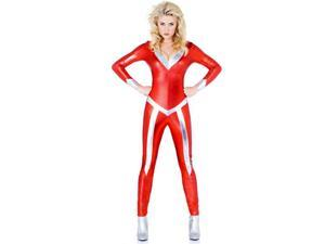 Women's Sexy Flame Silver and Red Catsuit Costume