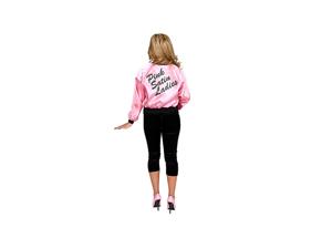 Printed Satin Jacket Pink Ladies Adult Costume