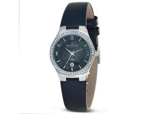 Skagen Women's 630SMLM SKAGEN Denmark Mother-Of-Pearl Dial Crystal Accented Leather Band Wo Watch