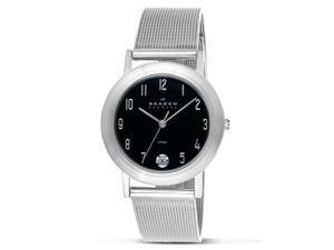 Skagen Men's Black Dial Stainless Steel Mesh Band Date Watch