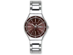 Swatch Men's YGS752G Quartz Burgandy Dial Date Stainless Steel Watch