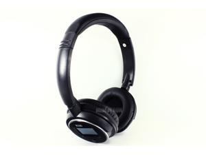 Max-Micro Zone Wireless Bluetooth Stereo Headphone with FM Radio and TF Card Reader for MP3 - Black Color