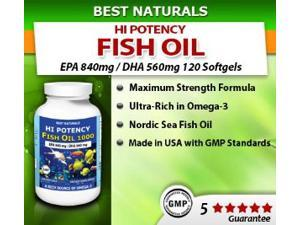 Best Naturals High Potency Fish Oil, EPA 840/dha 560 mg 120 Softgels