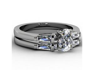 1.35 Ct  Oval Shaped Diamond Engagement Wedding Rings Set 14K White Gold Cut: Very Good SI2 GIA