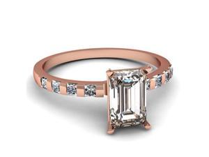 1.15 Ct Emerald Cut & Princess 8-Stone Diamond 14K Rose Gold Engagement Ring Ring Size-8