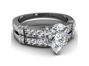 Hoop Pattern .75 Ct Pear Shaped D-Color Diamond Cathedral Pave Bridal Rings Set 14K White Gold Ring Size-4