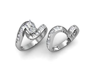 1 Ct Radiant Cut Diamond Swirl Wedding Engagement Rings Channel Set VVS1 GIA 14K White Gold Ring Size-6